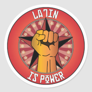Latin Is Power Classic Round Sticker