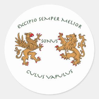 Latin mottos and heraldry round sticker