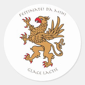 Latin mottos and heraldry round stickers