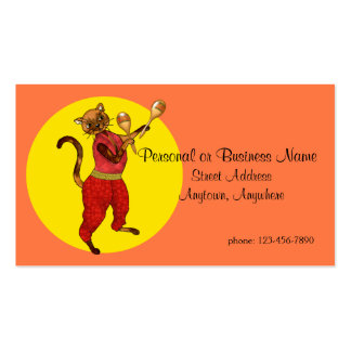 Latin Musical Cat with Maracas Business Card