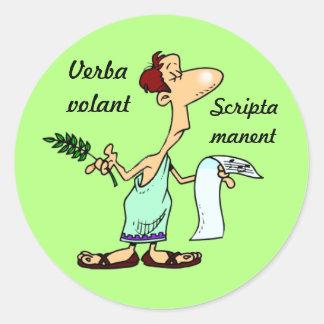 Latín: Scripta volador de Verba manent Pegatina Redonda