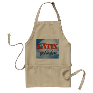 Latin spoken here cloudy earth adult apron