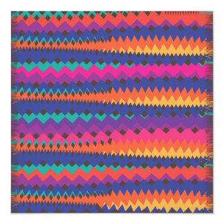 Latin Tribal Zigzag Colorful Striped Pattern Card