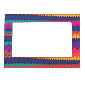 Latin Tribal Zigzag Colorful Striped Pattern Magnetic Photo Frame