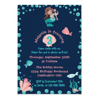 Latina Mermaid with Seahorse   3rd Birthday Party 5x7 Paper Invitation Card