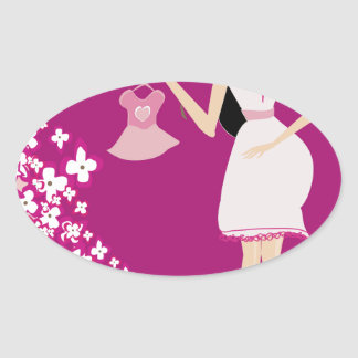 latina pregnant woman oval sticker