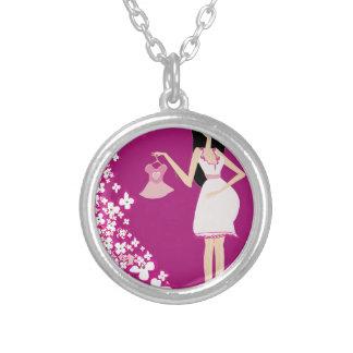 latina pregnant woman round pendant necklace