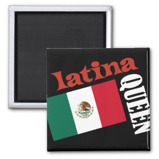 Latina Queen & Mexican Flag 2 Inch Square Magnet