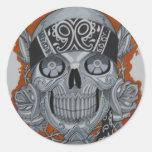 latino skull classic round sticker