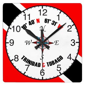Latitud y longitud de Trinidad and Tobago Relojes De Pared