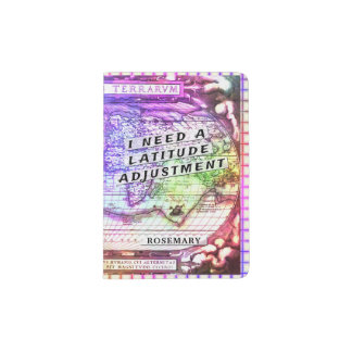 Latitude Adjustment Colorful Ancient Map Summer Passport Holder