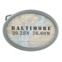 Latitude Longitude Baltimore MD Nautical Chart Belt Buckle