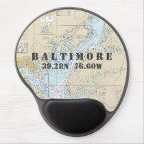 Latitude Longitude Baltimore MD Nautical Chart Gel Mouse Pad