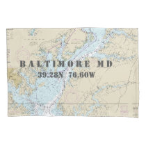 Latitude Longitude Baltimore MD Nautical Chart Pillow Case