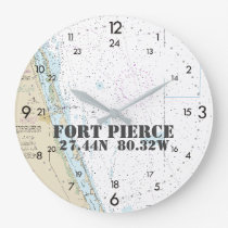Latitude Longitude Fort Pierce FL Nautical 24-hour Large Clock