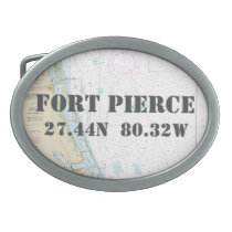 Latitude Longitude Fort Pierce FL Nautical Chart Belt Buckle