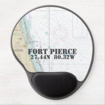 Latitude Longitude Fort Pierce FL Nautical Chart Gel Mouse Pad