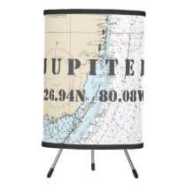 Latitude & Longitude Jupiter, Florida, Chart Table Tripod Lamp