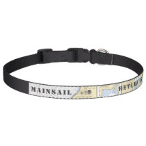 Latitude Longitude Martha's Vineyard Area Nautical Pet Collar