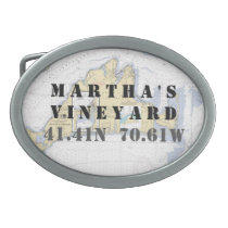 Latitude Longitude Martha's Vineyard Nautical Oval Belt Buckle