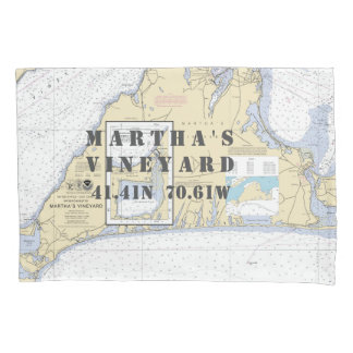 Latitude Longitude Martha's Vineyard Nautical Pillow Case