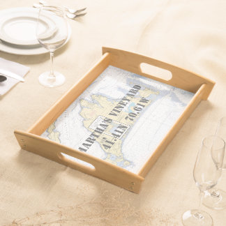 Latitude Longitude Martha's Vineyard Nautical Serving Tray