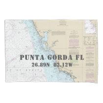 Latitude Longitude Punta Gorda FL Nautical Chart Pillowcase