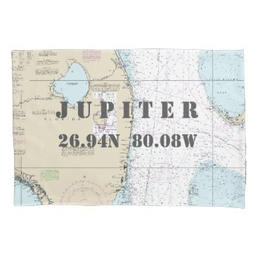 Beach Themed Latitude Longitude South Forida Nautical Chart Pillowcase