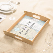Latitude Longitude South Forida Nautical Chart Serving Tray