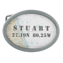 Latitude Longitude Stuart FL Nautical Chart Belt Buckle