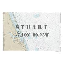 Latitude Longitude Stuart FL Nautical Chart Pillow Case