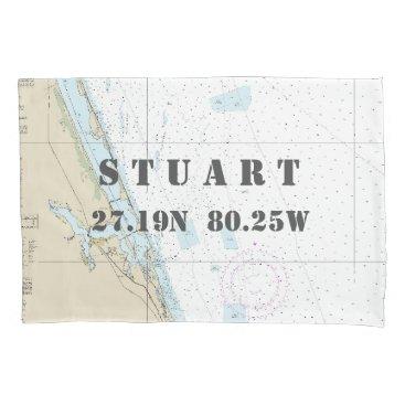 Beach Themed Latitude Longitude Stuart FL Nautical Chart Pillow Case