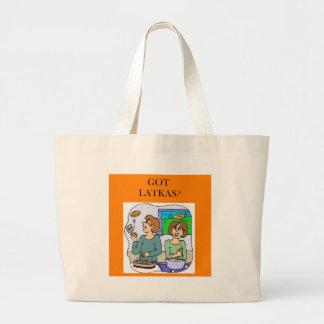 latkas lover design. large tote bag
