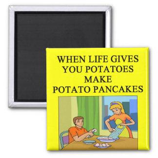 latkes potato pancake joke 2 inch square magnet