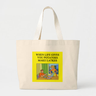 latkes potato pancake joke large tote bag