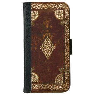 Latón de cuero viejo y cubierta de libro dorada funda cartera para iPhone 6