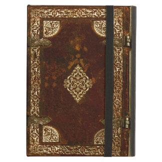 Latón de cuero viejo y cubierta de libro dorada