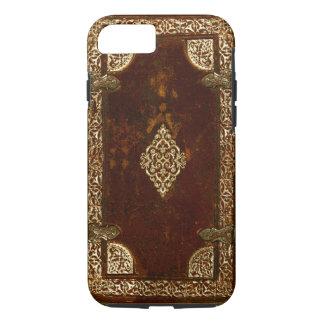 Latón de cuero viejo y cubierta de libro dorada funda iPhone 7