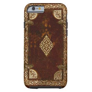 Latón de cuero viejo y cubierta de libro dorada funda resistente iPhone 6