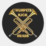 Latón del retroceso de las trompetas etiquetas redondas