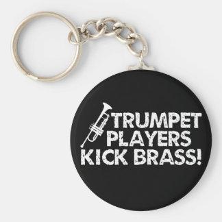 ¡Latón del retroceso de los jugadores de trompeta! Llavero Redondo Tipo Pin