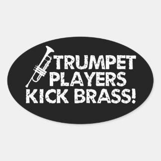 ¡Latón del retroceso de los jugadores de trompeta! Pegatina Ovalada