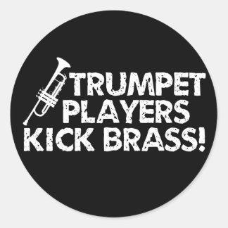 ¡Latón del retroceso de los jugadores de trompeta! Pegatina Redonda