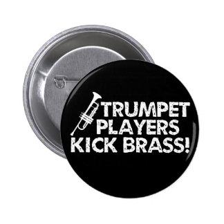 ¡Latón del retroceso de los jugadores de trompeta! Pin Redondo De 2 Pulgadas