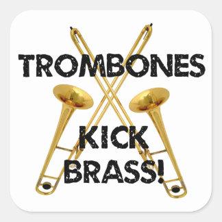 ¡Latón del retroceso de los Trombones! Pegatina Cuadrada