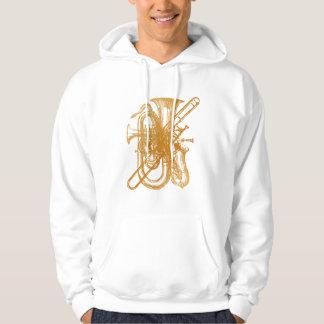 Latón y saxofón jersey encapuchado