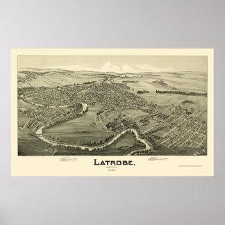 Latrobe, mapa panorámico del PA - 1900 Póster