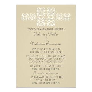 """Latte Bohemian Chic Wedding Invite 5"""" X 7"""" Invitation Card"""