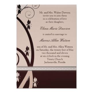 Latte Cabernet Floral Vine Wedding Invitation