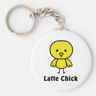 Latte Chick Basic Round Button Keychain